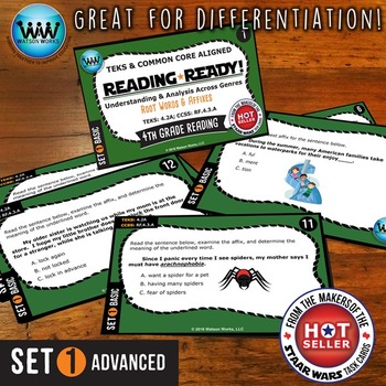 READING READY 4th Grade Task Cards - Root Words & Affixes ~ BASIC SET 1