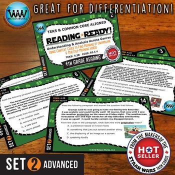 READING READY 4th Grade Task Cards – Using Context Clues ~ ADVANCED SET 2