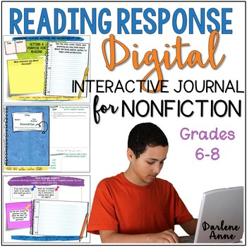 READING RESPONSE JOURNAL DIGITAL & PRINT FOR NONFICTION- MIDDLE SCHOOL ENGLISH