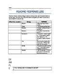 READING RESPONSE LOG 3RD GRADE
