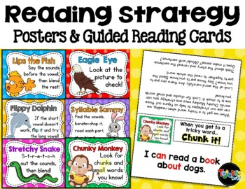 READING STRATEGIES Posters and Guided Reading Cards by Brenda Tejeda