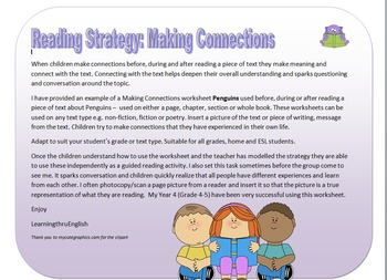 READING STRATEGY - MAKING CONNECTIONS editable worksheets and Penguin example
