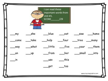 READING STREET GR 1 UNIT 1 HIGH FREQUENCY WORD ASSESSMENT