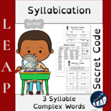 READING - Syllabication  *Secret Code* 3 Syllable Words -