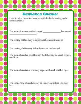 READING THINK ALOUD and SENTENCE STEMS ACTIVITY