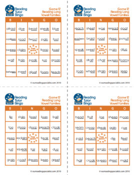 Reading Game: Reading Long Vowel Words Bingo (RT)
