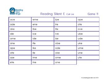Reading Game: Reading Silent E Words Bingo (RT)