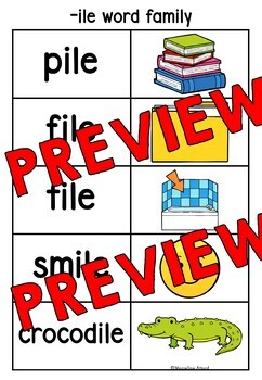 READING WORD FAMILY CARDS (WORD TO PICTURES MATCH UP ACTIVITY 1ST GRADE