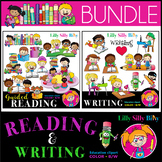READING & WRITING Clipart bundle. B/W and Color images. {Lilly Silly Billy}