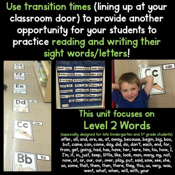 READING and WRITING Sight Words at Transitions Level 2 HF Words
