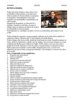 SPANISH READING/LECTURA: RUTINA DIARIA DAILY ROUTINE