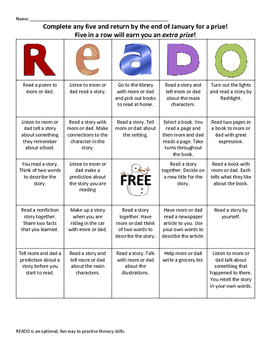 READO: January Literacy and Reading bingo style game for at home fun