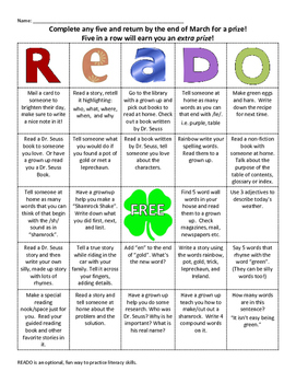 READO: March Literacy and Reading bingo style game for at home fun