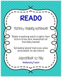 READO - Monthly Reading Bingo {reading homework}