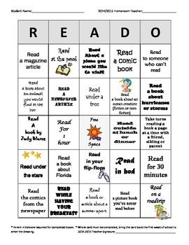 READO (Reading Bingo) Summer Edition