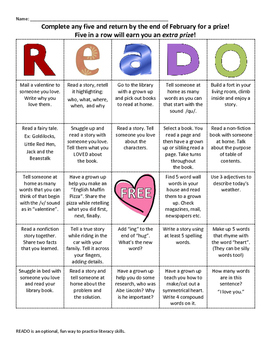 READO: February Literacy and Reading bingo style game for at home fun