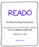 READO - editable version {reading homework}