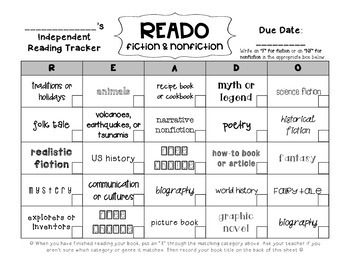 READO fiction & nonfiction independent reading tracker