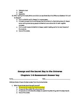 READY GEN GRADE 5 GEORGE AND THE SECRET KEY TO THE UNIVERSE CHAPT 1-8 ASSESSMENT