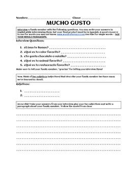 READY TO GO HOMEWORK! Mucho Gusto- Spanish Interview Homework