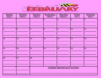 READY TO GO-February 2017 calendar (MUST print out/write a
