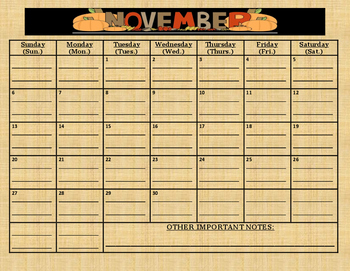 READY TO GO November 2016 calendar: (comes with due date lines)
