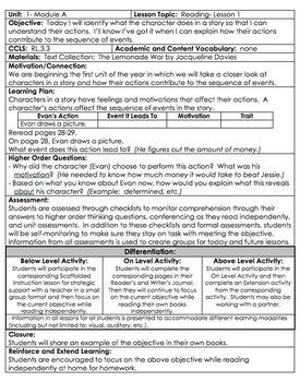 READYGEN Gr 3 Unit 1A Reading Lesson Plans DIFFERENTIATION *Danielson Format*