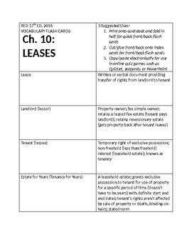REAL ESTATE VOCABULARY TEN: LEASES