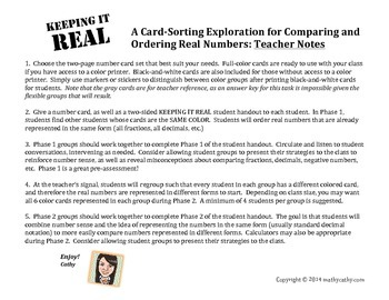REAL NUMBER SORT: Comparing & Ordering Real Numbers Flexible Group Task
