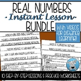 REAL NUMBERS INSTANT LESSON BUNDLE WITH VIDEOS DISTANCE LEARNING