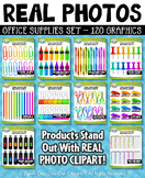 REAL PHOTOS Office Supplies Clipart Bundle Set — Includes