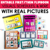 REAL PICTURES: First Then Board & Visual Schedule Flip Books (EDITABLE)