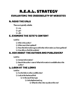 REAL Strategy Practice for Identifying Credible Online Resources