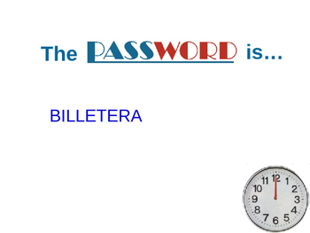 "REALIDADES 1. 7B. VOCABULARY GAME ""PASSWORD"""