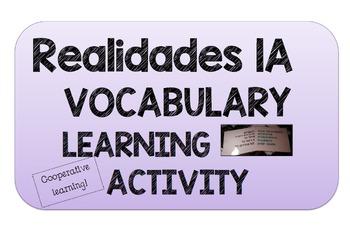 REALIDADES 2. 1A. VOCABULARY ACTIVITY.