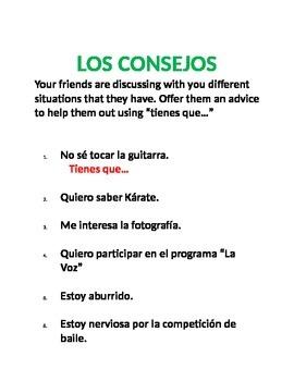 REALIDADES 2. 1B. ASOCIACIONES CON VOCABULARIO Y TENER QUE + INF.
