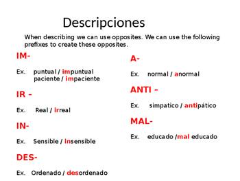 REALIDADES 2. PARA EMPEZAR. ADJECTIVES. DESCRIPTIONS.