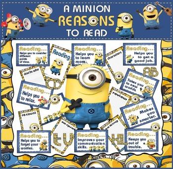 REASONS TO READ DISPLAY TEACHING RESOURCES EYFS KS1-KS2 READING MINIONS