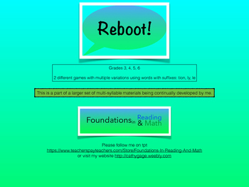 REBOOT Multi Syllable game with tion, ly, le suffix practice for RTI / classroom