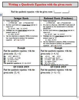 Graphic Organizer - Find Quad Equation given Roots (Integers & Rationals)