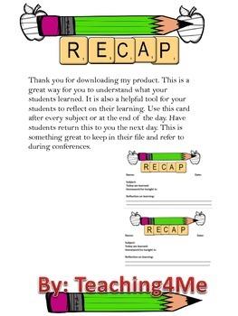 RECAP EXIT CARDS