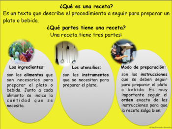 RECETAS PRÁCTICA  ORAL Y ESCRITA SECUENCIACIÓN RECIPES SPANISH SEQUENCING