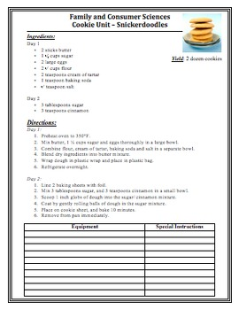 RECIPES for Beginner-Intermediate Cooks in the Kitchen Lab