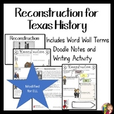 RECONSTRUCTION in Texas MODIFIED FOR ELL OR 4TH