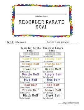 RECORDER KARATE GOAL SETTING SHEETS