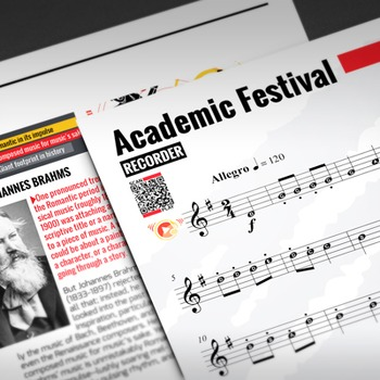 RECORDER SHEET MUSIC: Academic Festival Overture with FING
