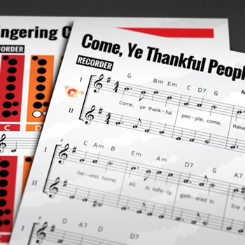 RECORDER SHEET MUSIC: Come, Ye Thankful, Come with FINGERING CHART