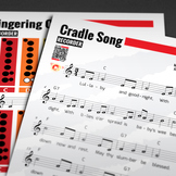 RECORDER SHEET MUSIC: Cradle Song w/ FINGERING CHART & Extras