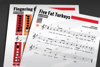 RECORDER SHEET MUSIC: Five Fat Turkeys w/ Performance Trax