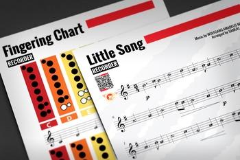RECORDER SHEET MUSIC: Little Song - W.A. Mozart w/ FINGERING CHART